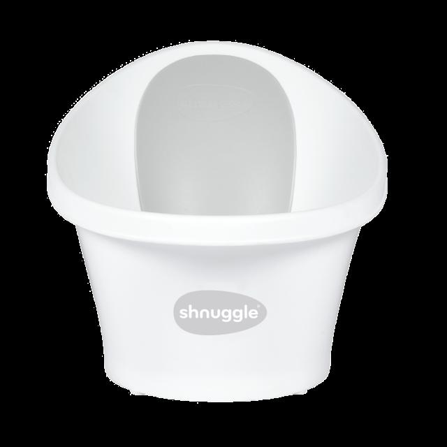Shnuggle Baby Bath With Plug & Foam Backrest – White/Grey