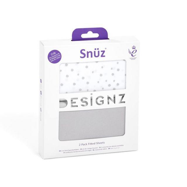 Snuz Crib 2pk Fitted Sheets - Grey Spots