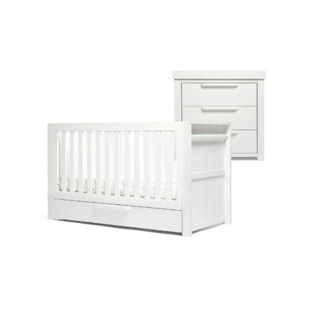 Mamas & Papas Franklin 2 Piece Cotbed Set - White Wash