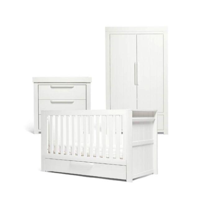 Mamas & Papas Franklin 3 Piece Cotbed Range - White Wash