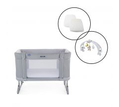 Chicco Next2Me Forever Crib/Cot 3pc Bundle  - Cool Grey