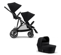 Cybex Gazelle S Duo Bundle - Newborn Toddler - Black Frame with Black Fabrics