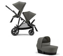 Cybex Gazelle S Duo Bundle - Newborn Toddler - Black Frame with Soho Grey Fabrics