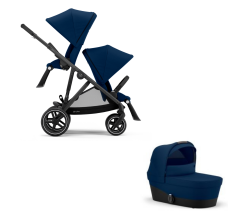 Cybex Gazelle S Duo Bundle - Newborn Toddler - Black Frame with Navy Blue Fabrics