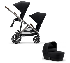 Cybex Gazelle S Duo Bundle - Newborn Toddler - Taupe Frame with Black Fabrics