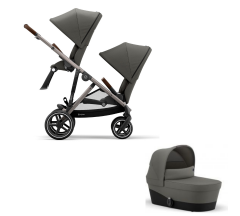 Cybex Gazelle S Duo  Bundle - Newborn Toddler - Taupe Frame with Soho Grey Fabrics