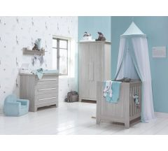 Bella Baby 3 Piece CotBed Dresser & Wardrobe Set- Alto White