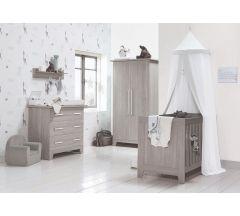 Bella Baby Harlow 3 Piece CotBed Dresser & Wardrobe Set- Alto White