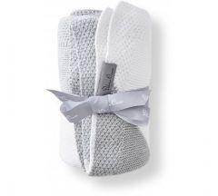 Silver Cross Grey Stripe Knitted Blanket