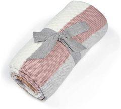 Mamas & Papas Knitted Blanket - Pink Stripe