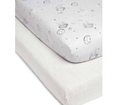Mamas & Papas Cot Bed Fitted Sheet 2 pk – Cloud
