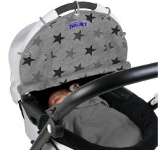 Dooky Sun Shade Cover - Grey Stars