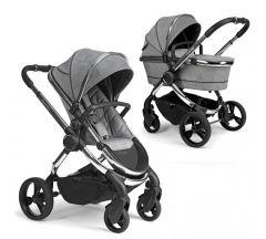 iCandy Peach Pushchair & Carrycot - Chrome Light Grey Check
