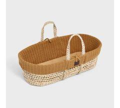 The Little Green Sheep Organic Knitted Moses Basket & Mattress - Honey