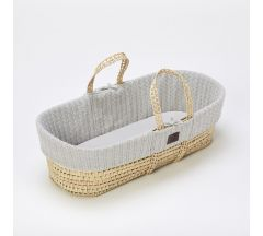 The Little Green Sheep Organic Knitted Moses Basket & Mattress - Dove
