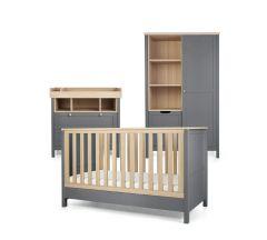 Mamas & Papas Harwell 3piece CotBed Range with Dresser and Wardrobe -Grey/Oak